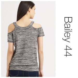 Bailey 44 Cold Shoulder Gray Spaced-Dyed Top M